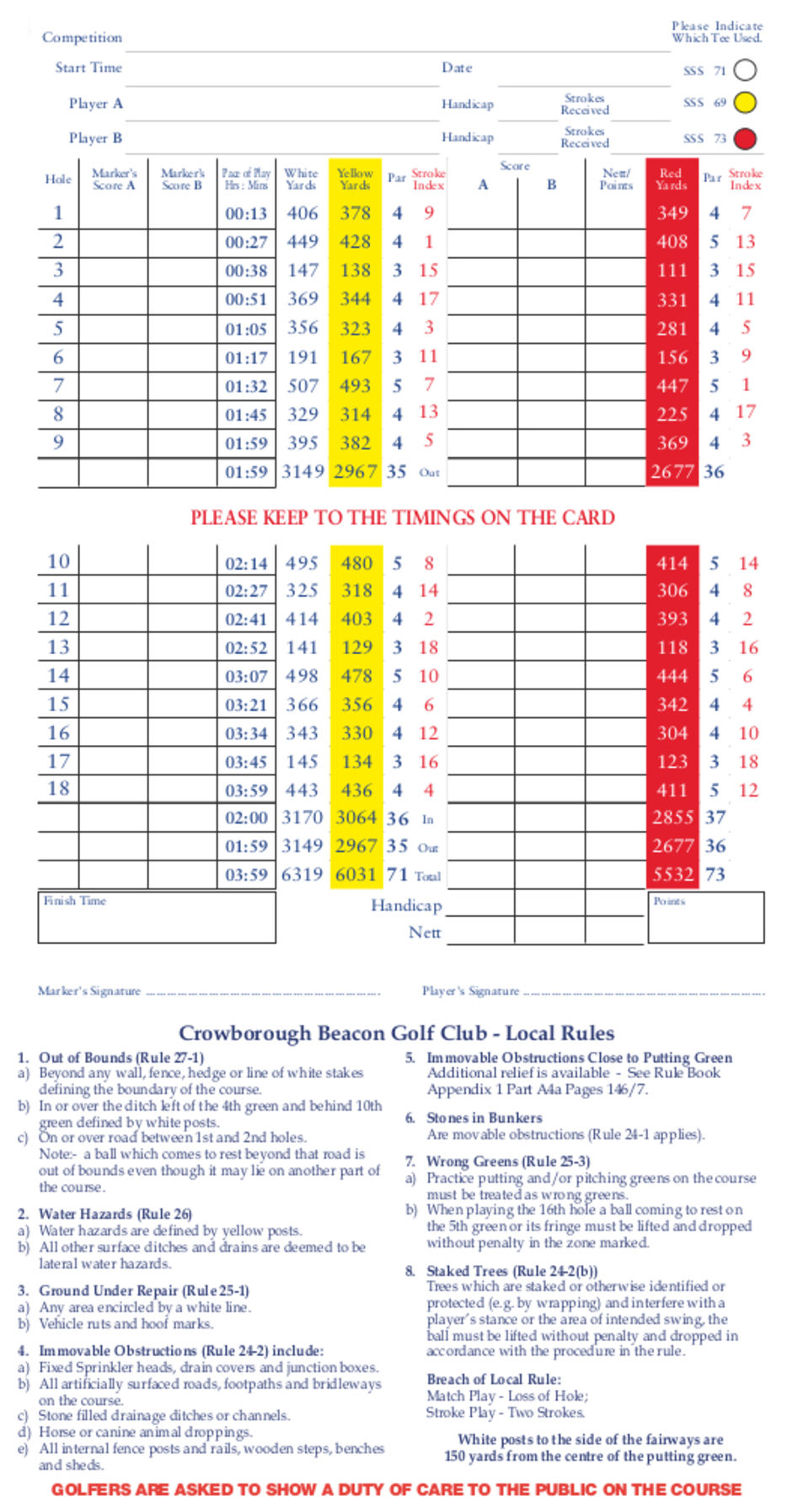 Full Course Card  Gentlemen SSS 71 & 69 Ladies SSS 73