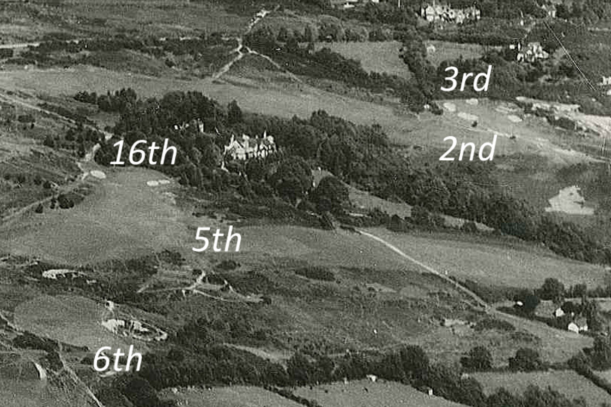 1950's aerial photo showing almost no trees on the 6th and all the tees in play